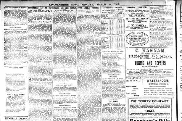 The Lincolnshire Echo from Monday, March 26; 1917 features a match report including a team from Lincoln Munition Girls playing the Derby Munition Girls.